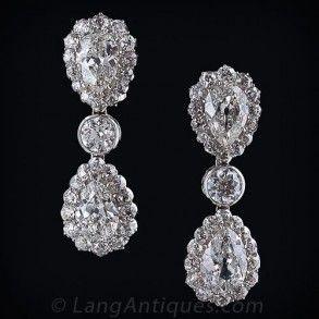 Gorgeous Double Pear Shape Diamond Earrings