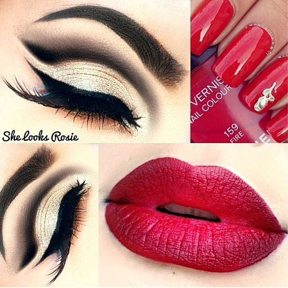 Red lips, black white eyeshadow, long lashes. Flawless.