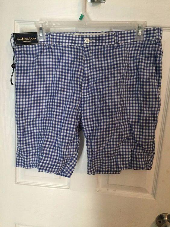 "NWT Polo Ralph Lauren Straight Fit Men's Shorts 36 Plaid Inseam 8.5"" #PoloRalphLauren #StraightFitShorts"