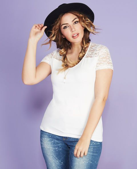Lace shoulder v-neck tee- Pretty up your basics with this femme V-neck tee featuring pretty floral lace at the shoulders for a sweet twist to this ultra classic wardrobe staple. Tee features a super soft knit body with plenty of stretch all over and solid trim at the neckline.