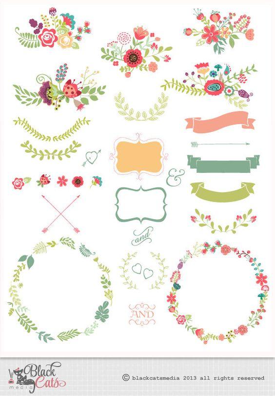 Marcos de flores y encaje Digital Clipart cintas y marcos para invitación de boda Scrapbooking - Descargar Instant - Eps y PNG