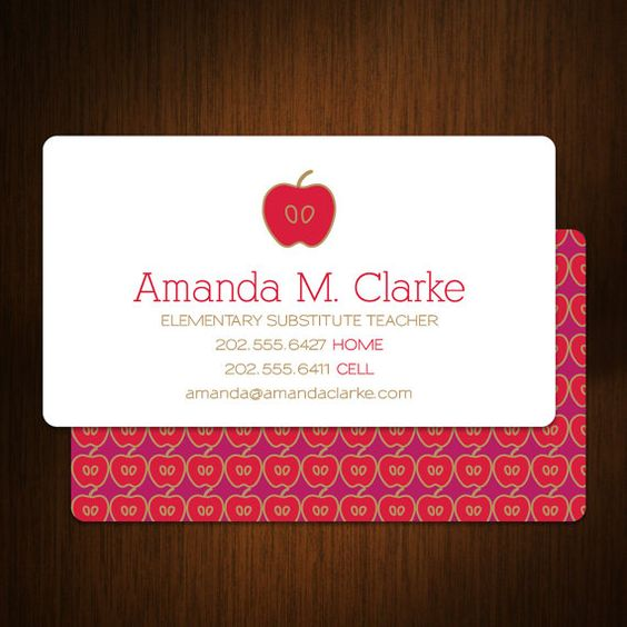 I am getting these immediately!!!!!! Modern Substitute Teacher Business Cards Set of 100 by © MalloryHopeDesign, $48.00