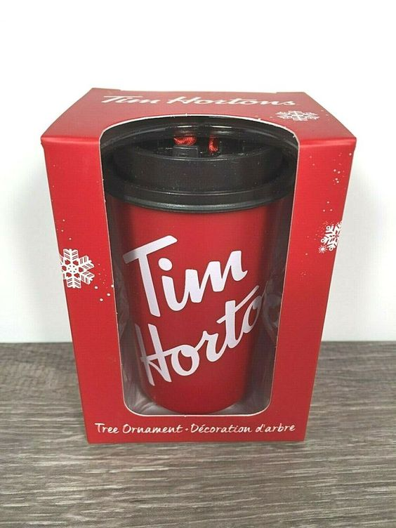 2018 Tim Hortons Christmas Holiday Ornament 4 Coffee Cups in Carry Out Tray NIB