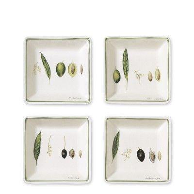 Botanical Olive Dip Bowls, Set of 4