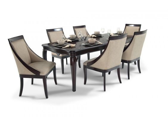gatsby 7 piece dining set with swoop chairs gatsby room set and bobs. Black Bedroom Furniture Sets. Home Design Ideas