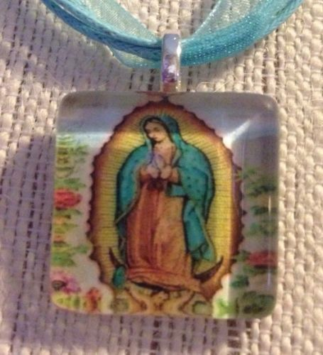 Lady Of Guadalupe Religous Glass Tile Pendant Ribbon Necklace Easter Gift