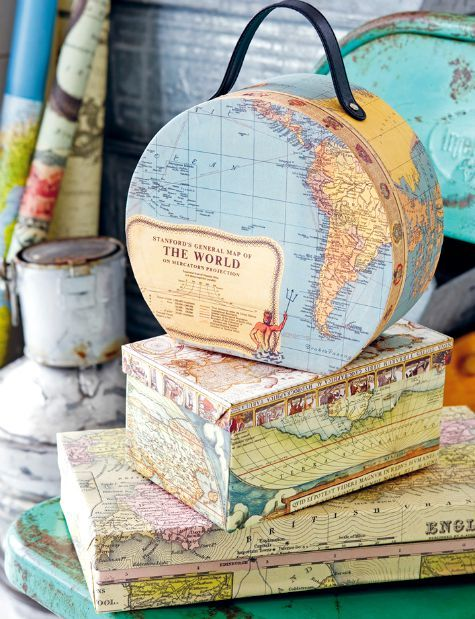8 Nautical Map Decor Ideas by Anna Örnberg. Cover boxes..., lampshades, books, trays, building blocks and more: http://www.completely-coastal.com/2015/07/nautical-map-decor-ideas-by-anna-ornberg.html: