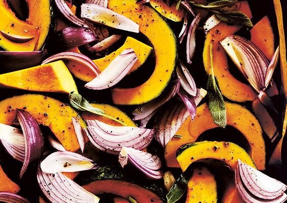 Baked Pumpkin with Lemon, Sauteed Greens, and Toasted Cumin Dressing