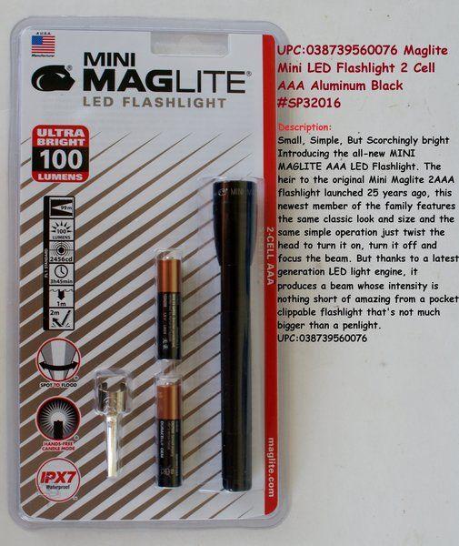 Maglite Mini Led Flashlight 2 Cell Aaa Aluminum Black Sp32016 Maglite Led Flashlight Flashlight