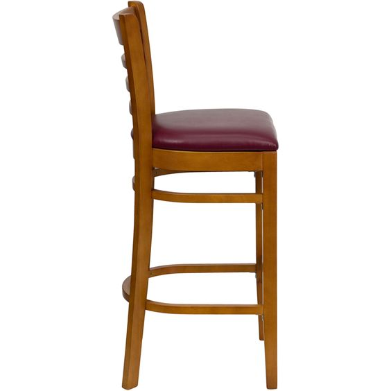 Flash XU-DGW0005BARLAD-CHY-BURV-GG - HERCULES Ladder Back Cherry Wood Bar  Stool with Burgundy Vinyl Seat  Sale Price $87.75