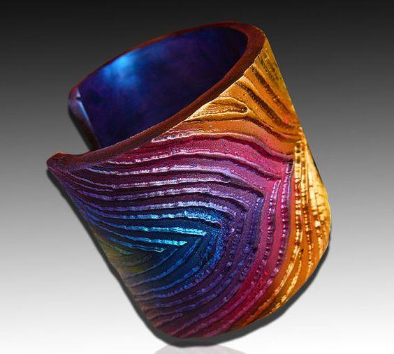 Peacock polymer clay cuff by adrianaallenllc on Etsy, $17.00