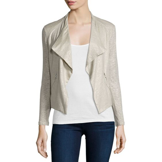 Majestic Paris for Neiman Marcus Linen-Silk Drape Cardigan ($350) ❤ liked on Polyvore featuring tops, cardigans, metal grey, drape cardigan, drapey cardigan, silk top, long sleeve open front cardigan and long sleeve cardigan