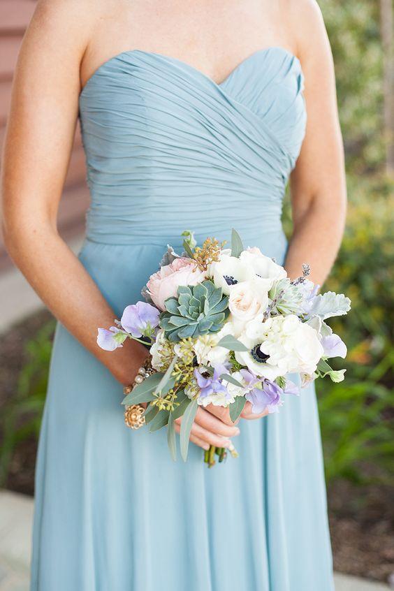 Bridesmaid Bouquet. Succulents, anemones, peach garden ...