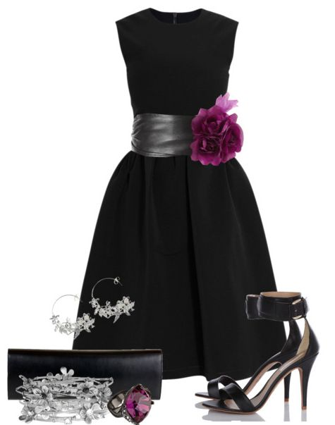 Black cocktail dress with flower