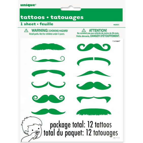 Green Moustache Finger Tattoos 12ct   Wally's Party Factory #StPatricksDay #Moustache #fingertattoos