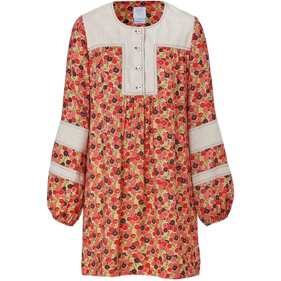 ANNA SUI Cream-Multi Cotton Flower Bed Dress (4 315 ZAR) found on Polyvore