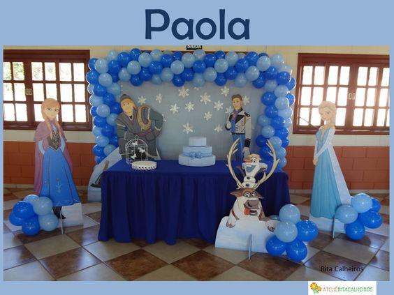 27/08/2016, Decoração Frozen com mesa de 2m.  Realizado no Condomínio Bosque do Currupira - Jundiaí