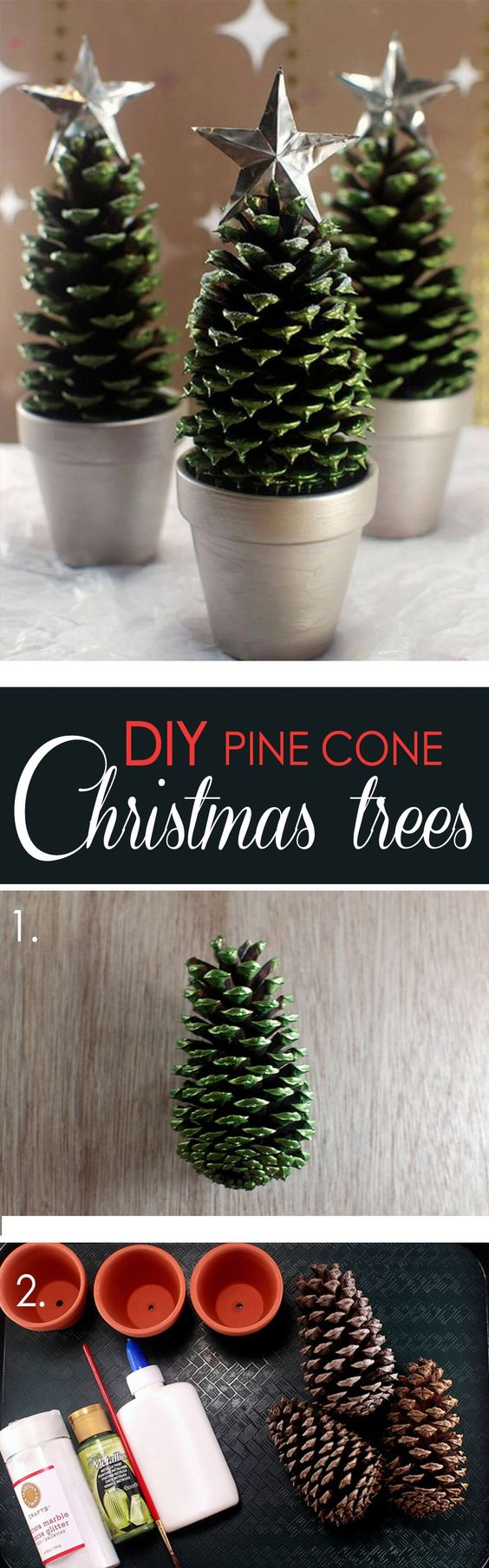 12 DIY Christmas Decorations with Nature: 8.Pinecone Christmas Tree
