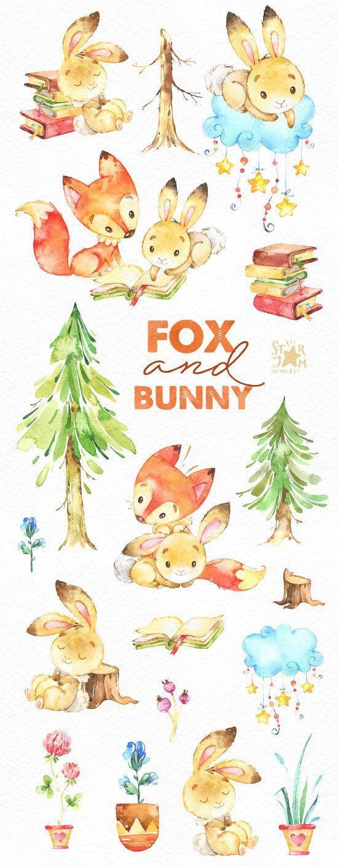 Fox Et Bunny Amis Aquarelle Clipart Animaux Mignons Art Artisan Pour Les Enfants Tiere Clipart Niedliche Illustration Tiere Zeichnen