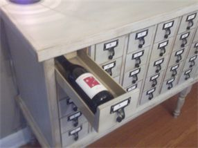card catalog wine storage  Interior Decorating: Making The Most Of A Small Budget