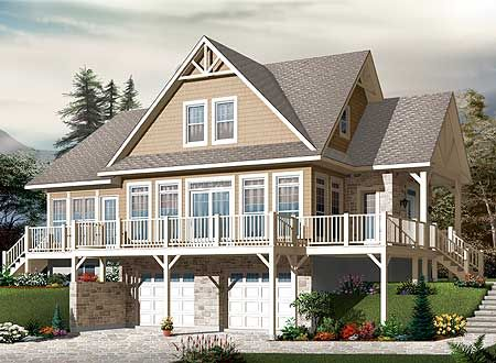 Plan DR  Four Season Escape   Drive Under   Four Seasons    Lakehouse Plans  House Plans With Porches  House Plans With Drive Under Garage  Sloping Lot House Plans  Small Cottage House Plans  Rustic House Plans