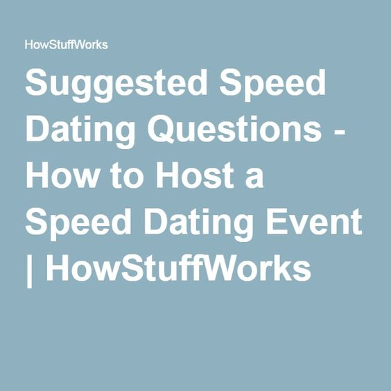 How to do a speed dating event