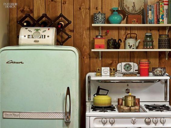 Kitchen Kitchen Appliances Retro Antique Rebuild Custom Vintage Classic Fridges Refrigerators Vintage Gas Range Wooden Shelf Kitchen Appliances: Retro Refrigerators