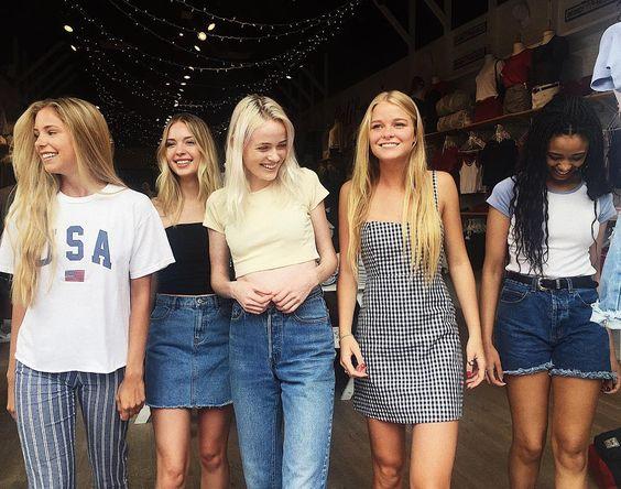 "Brandy Melville on Instagram: ""#brandyusa Aleena USA top, Tilden pants / Jenny tube top, Juliette denim skirt / Ashlyn top / Karla dress / Margaret top."""