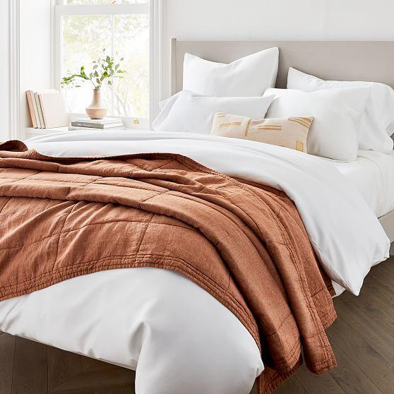 Belgian Linen Blanket Twin Dark Amber Linen Quilt Velvet Duvet Home Decor