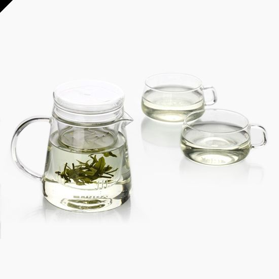 Filtering Glass Teapot and Cup Set  Ideal for white or green tea :-)