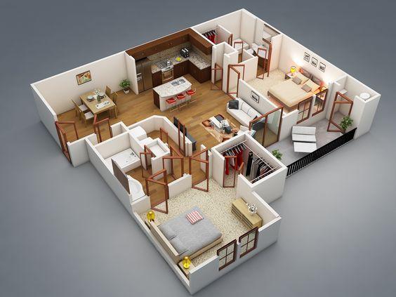 50 Two 2 Bedroom ApartmentHouse Plans Floor plans salems