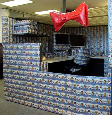 Funny office cubicle prank christmas wrapping paper photo for Cool things for your cubicle