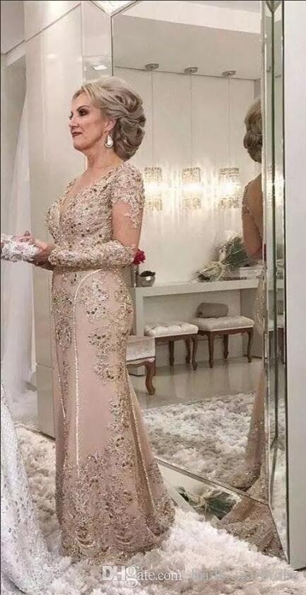 2018 luxo mãe dos vestidos de noiva decote em v mangas compridas de cristal frisada sereia rendas applique plus size festa noite vestidos de festa de casamento