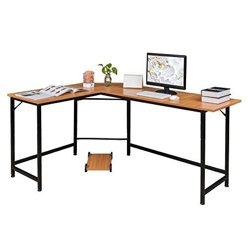 Thaweesuk Shop Wood Color Board Black Metal Legs L Shaped Corner Computer Desk Home Office Stu Corner Computer Desk Office Computer Desk Modern Computer Desk