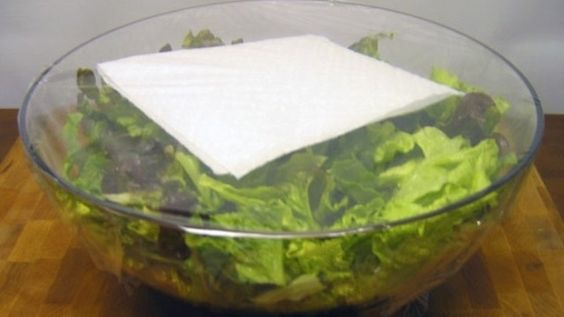 This trick of putting a paper towel in with your salad lettuce will keep it fresh all week long. The paper towel will absorb the moisture, which is the culprit for wilting lettuce.