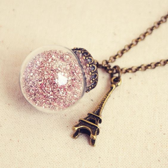 Glass Bauble Necklace with Pink German by DearDelilahHandmade: