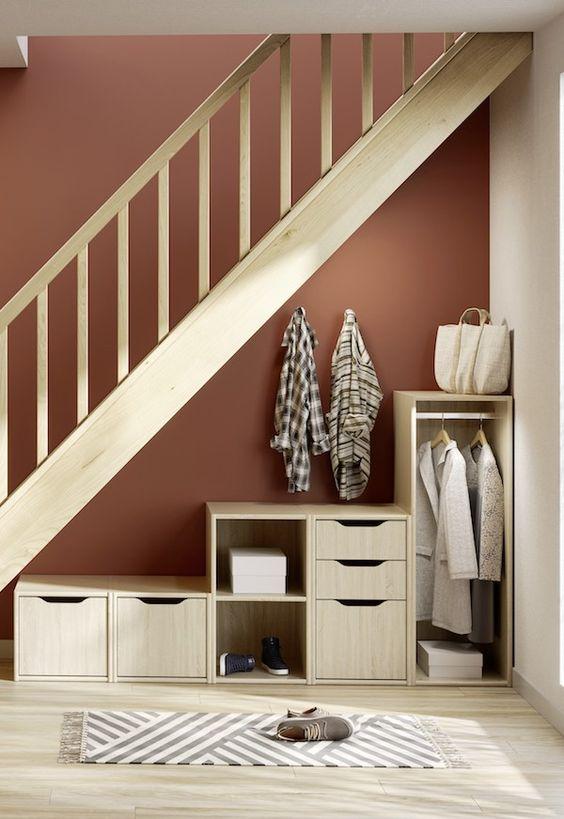 Tiroir Facade Bois H 31 6 Cm Pour Dressing Espace En 2020 Meuble Sous Escalier Amenagement Escalier Et Idee Deco Entree Maison