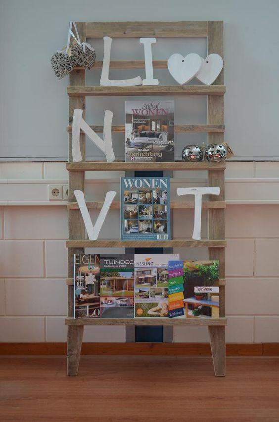 pronkrek tijdschriftenrek kadorek fotorek voor in woonkamer muur