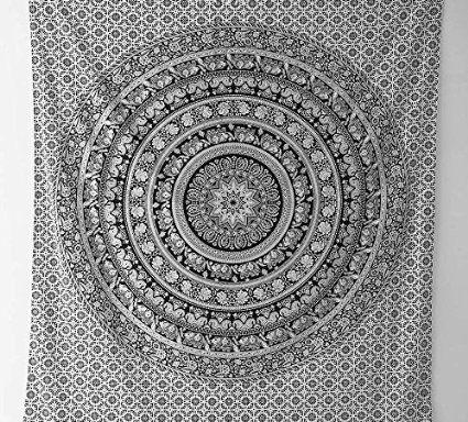 Motif l phant mandala hippie tapisseries nappes de - Motif tapisserie ...