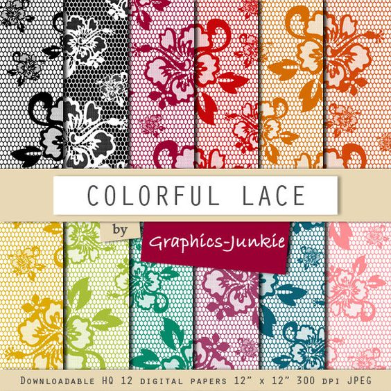 Lace digital paper Colorful Lace digital by GraphicsJunkie on Etsy, $4.80