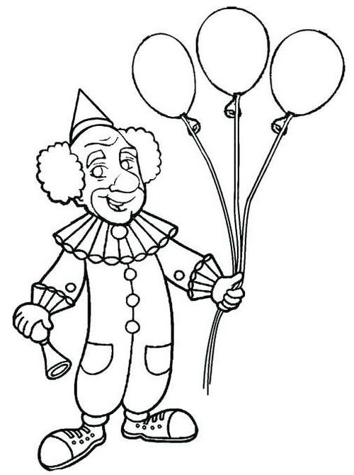 Clown Holding Balloons Coloring Sheet Coloring Pages Black And White Cartoon Coloring Pages For Kids