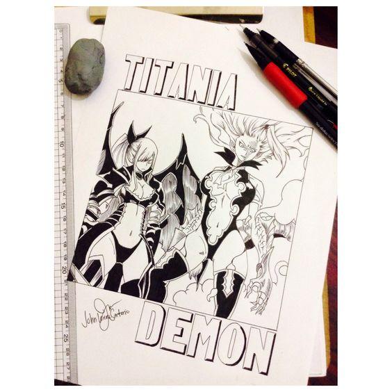 "Erza ""titania"" Scarlet & Mirajane ""Demon"" Strauss #Sketch #manga"