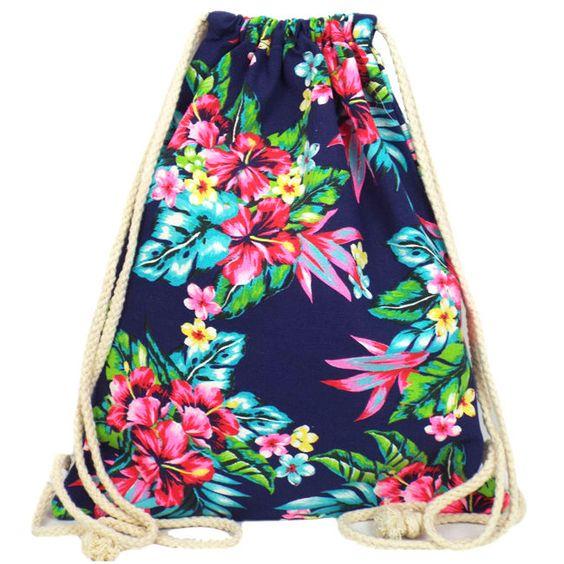 Vintage Style Hawaiian Print Floral Festival Drawstring Bag | eBay ...