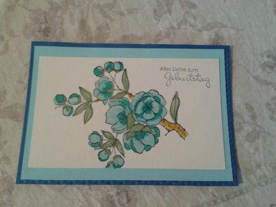 Geburtstagskarte - Kirschblütenzweig in hellblau von Handmade1977 auf DaWanda.com