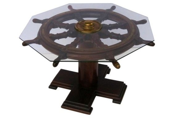 English Ship 39 S Wheel Coffee Table Card Table Eclectic Beach Cottage Pinterest
