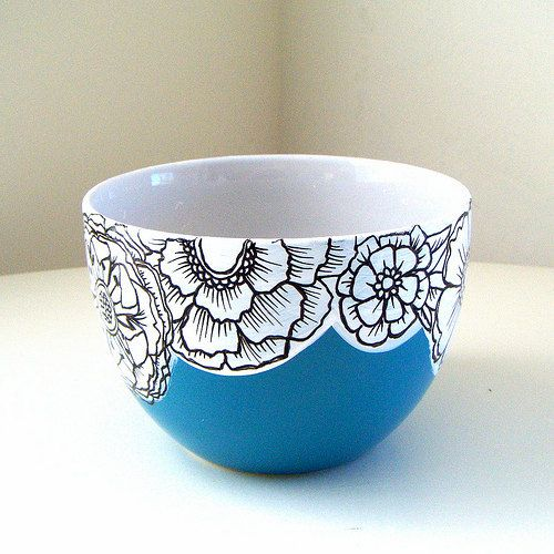 Ceramic Bowl Flowers Blue Black White Botanicals Painted Floral Turquoise Housewarming Wedding Gift by sewZinski.: