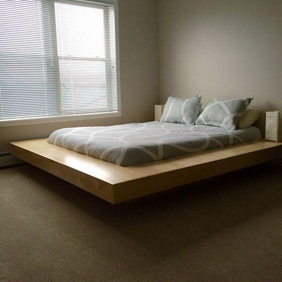 Maple wood floating platform bed frame diy floating - Diy floating platform bed ...