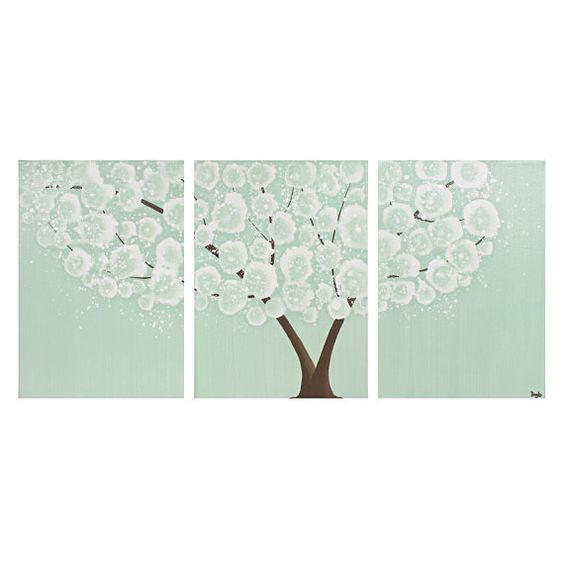 Tree Painting Large Canvas Art Mint Green Nursery Wall