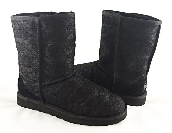 Womens UGG Antoinette Black Floral Satin Lace Genuine Suede&Shearling Boots…