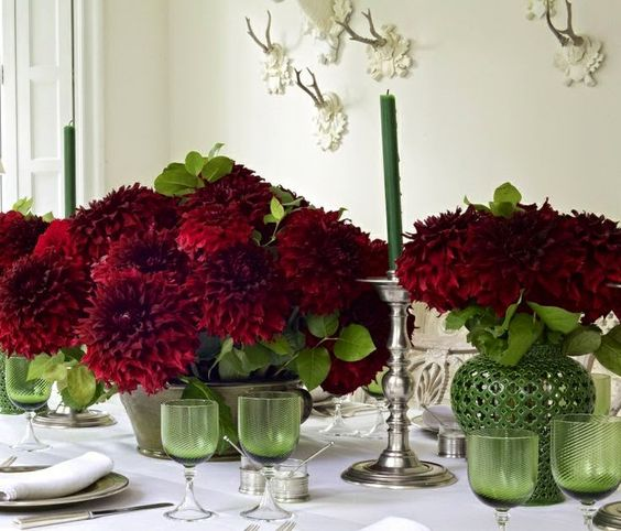 Red flowers french and dahlia centerpiece on pinterest